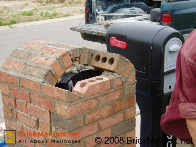 Notice special cut of back brick.