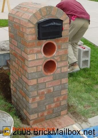 The brick mailbox is complete.